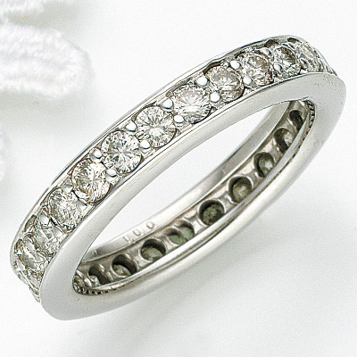 《お客様のサイズに合わせて新しくお作りします納期約15日》ご結婚、出産、10周年などの記念日にもPTダイヤモンド1.0ctフルエタニティリング記念日 25号迄大きいサイズ K18 k18 18金 K18YG K18WG K18PG pt プラチナ ダイヤ リング エタニティ
