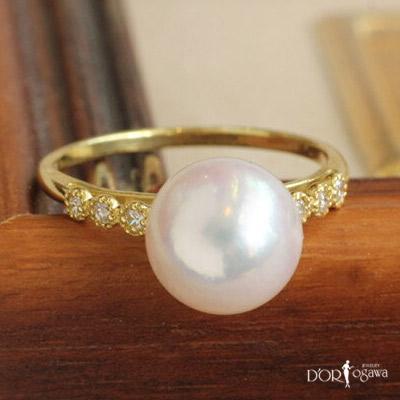 18k 18金 アコヤ真珠 30代からのセレクトジュエリー/ダイヤモンドリング ダイヤ リング あこや真珠 アコヤパール k18yg イエローゴールド