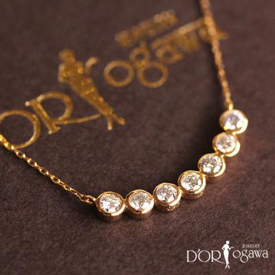 18k 18金 h&c ハート&キューピッド セブン ダイヤモンド ネックレスダイヤ ネックレス  7石 シンプル k18yg イエローゴールド