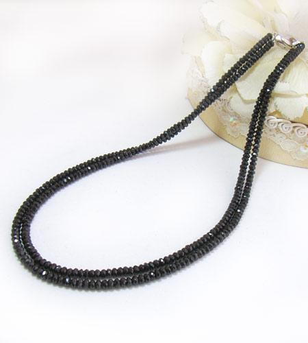 ブラックスピネルネックレス SVブラックスピネル約4mm・ 2連ネックレス(45cm・42cm)【バレンタイン】