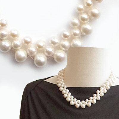 6750e92c62d16 デコルテを綺麗に飾るネックレス 淡水パールネックレス結婚式 パーティー ギフト 淡水 真珠 ネックレス