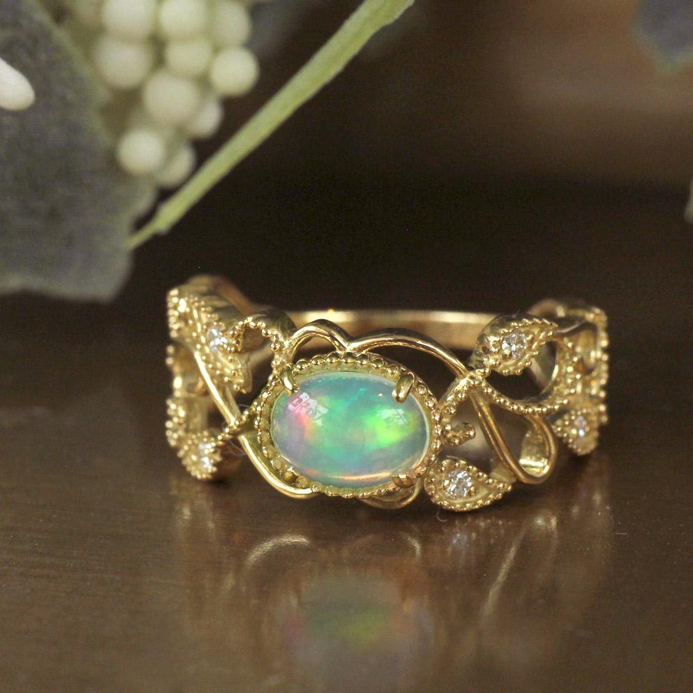 アンティークジュエリー リング 18金 オパール リング ダイヤモンド K18 指輪 クラシック クラシカル10月 誕生石 誕生日 日本製 新品 11号 ミルグレイン ミル ドールのカラーストーン