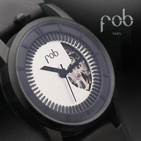 fob PARIS | フォブ パリス 新品【 R413 マットブラックソリッドシルバー】 Matte Black Soild Silver・Rehab 413-06 NEO CLASSICウオッチ メンズ ブラック 黒 正規品 公式 FOB paris フランス製 腕時計 ウォッチ 機械式 自動巻き スケルトン
