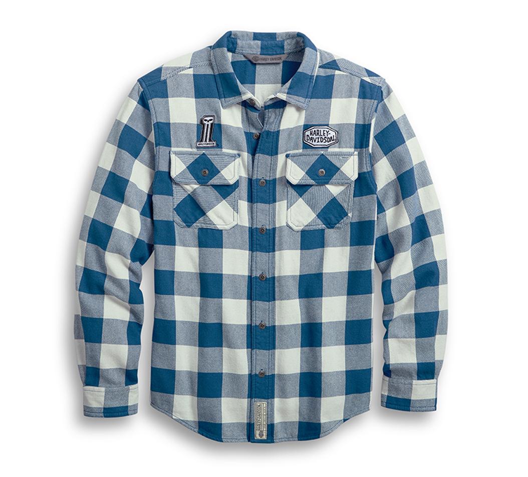 シャツジャケット【純正品】HARLEY-DAVIDSON・ハーレーダビッドソン・Men's Buffalo Plaid Camp Shirt・バッファロー チェックシャツ・キャンプシャツ・長袖ボタンシャツ・オーバーシャツ:96007-20VM