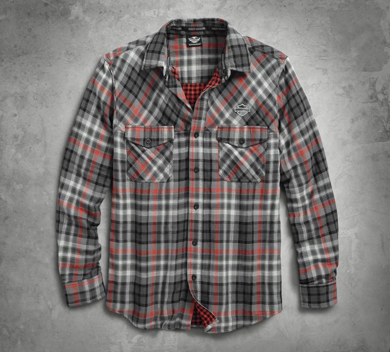 【純正品】HARLEY-DAVIDSON・ハーレーダビッドソン【数量限定】Men's Double Cloth Plaid Shirt・メンズ ダブル-クローズ チェックシャツ・長袖ボタンシャツ:96424-18VM