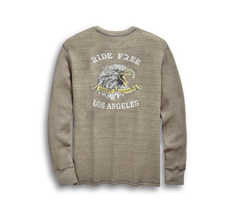 【純正品】HARLEY-DAVIDSON◆ハーレーダビッドソン・Men's Ride Free Waffle Knit Slim Fit Shirt・ライドフリー ワッフルニット スリムフィットシャツ・ワッフル ロングスリーブT・ロンティー・アメリカンイーグル:96560-19VM