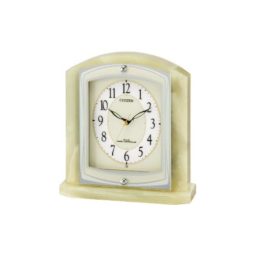 リズム時計 電波置時計 パルラフィーネR400(ライトグリーン)