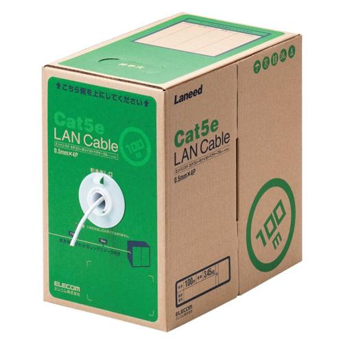 エレコム RoHS対応LANケーブル CAT5E 100m ホワイト 簡易パッケージ(ホワイト)