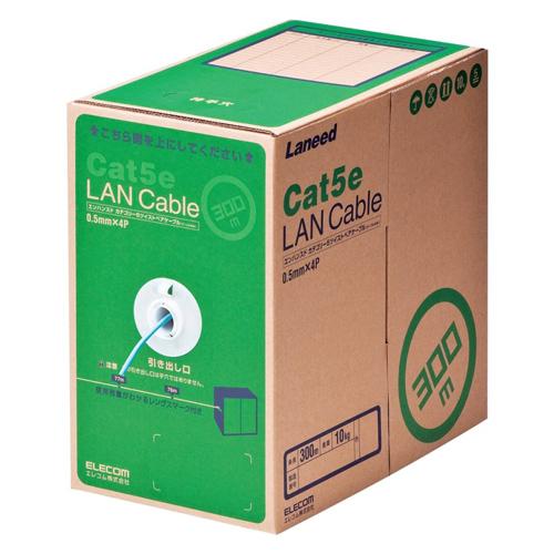エレコム RoHS対応LANケーブル CAT5E 300m ライトブルー 簡易パッケージ(ライトブルー)
