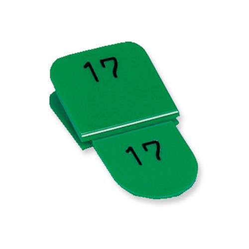 共栄プラスチック 親子番号札 角型(親札クリップ式) 1~50(グリーン)