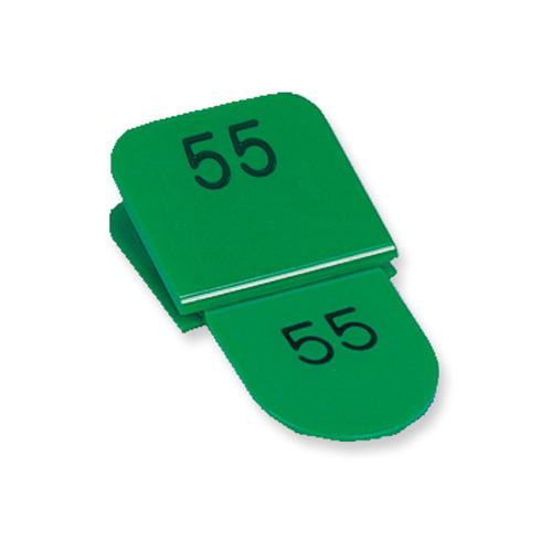 送料無料 共栄プラスチック 親子番号札 セットアップ 実物 角型 親札クリップ式 グリーン 51~100