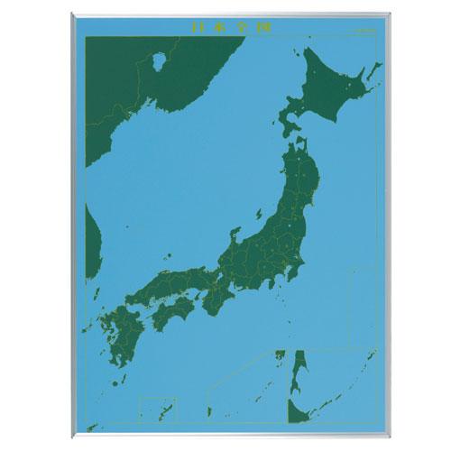 馬印 スチールグリーン 地図黒板 日本全図