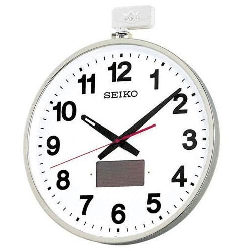全商品ポイント2~10倍27日23時59分まで/セイコー 屋外・防雨型ソーラー電波掛時計(銀色)