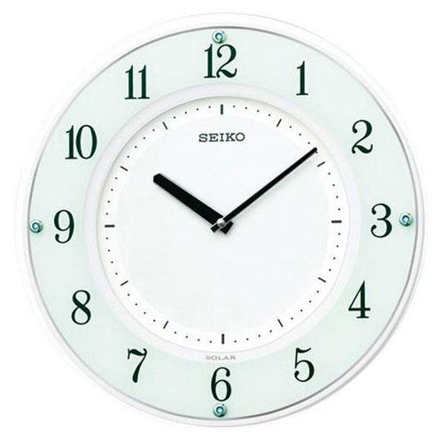 全商品2~10倍26日23時59分まで/セイコー 薄型ソーラープラス電波掛時計(ホワイト)