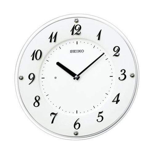 全商品2~10倍ポイント大還元セール開催中/セイコー 薄型電池寿命5年シリーズ電波掛時計(ホワイト)