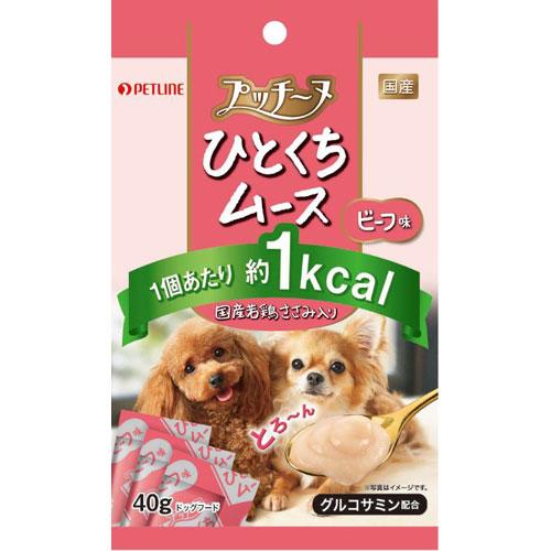 ¥5,000以上送料無料  ペットライン プッチーヌ ひとくちムース国産若鶏ささみ入りビーフ味40g ペット用品 フード