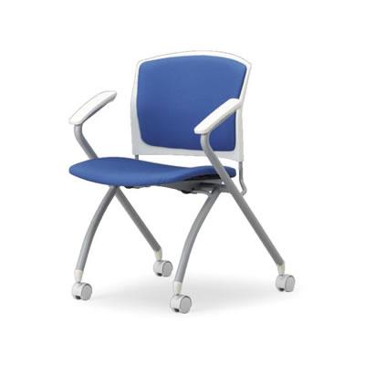 時間指定不可 代引不可 アイコ 法人向け ミーティングチェア 布張り 2脚セット 背張り付き肘付き 水平スタックタイプ ホワイトシェル BU(ブルー)