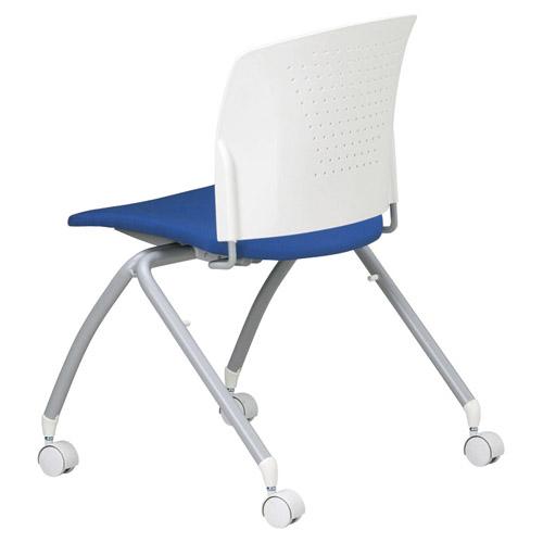 時間指定不可 代引不可 アイコ 法人向け ミーティングチェア 布張り 2脚セット 肘なしキャスタータイプ ホワイトシェル BU(ブルー)