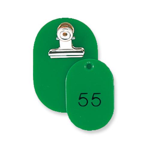 共栄プラスチック 親子番号札 小判型 51~100(グリーン)