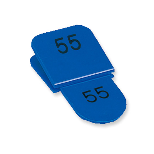 送料無料 共栄プラスチック 親子番号札 限定モデル 角型 超目玉 ブルー 親札クリップ式 51~100