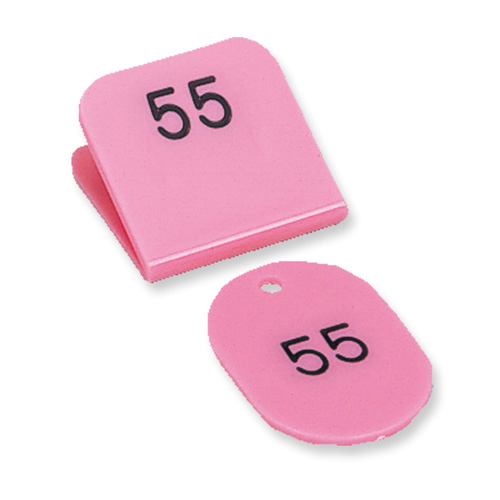 送料無料 共栄プラスチック 親子番号札 角型 予約 親札クリップ式 ピンク 51~100 待望