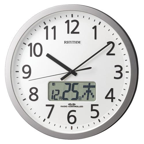 リズム時計 電波時計 プログラムカレンダー405SR(シルバーメタリック)