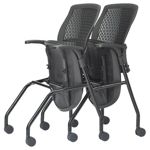 アイコ ミーティングチェア 布張り 肘付きキャスタータイプ 水平スタック&スタッキングチェア 背もたれ黒タイプ(ブラック)