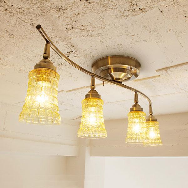 送料無料!シーリングライト -Amaretto remote ceiling lamp4(アマレットリモートシーリング)AW-0334- 照明器具 天井照明 間接照明 リモコン付 シーリングスポット シーリングランプ リビング用 ダイニング用 ガラス おしゃれ レトロ アンティーク