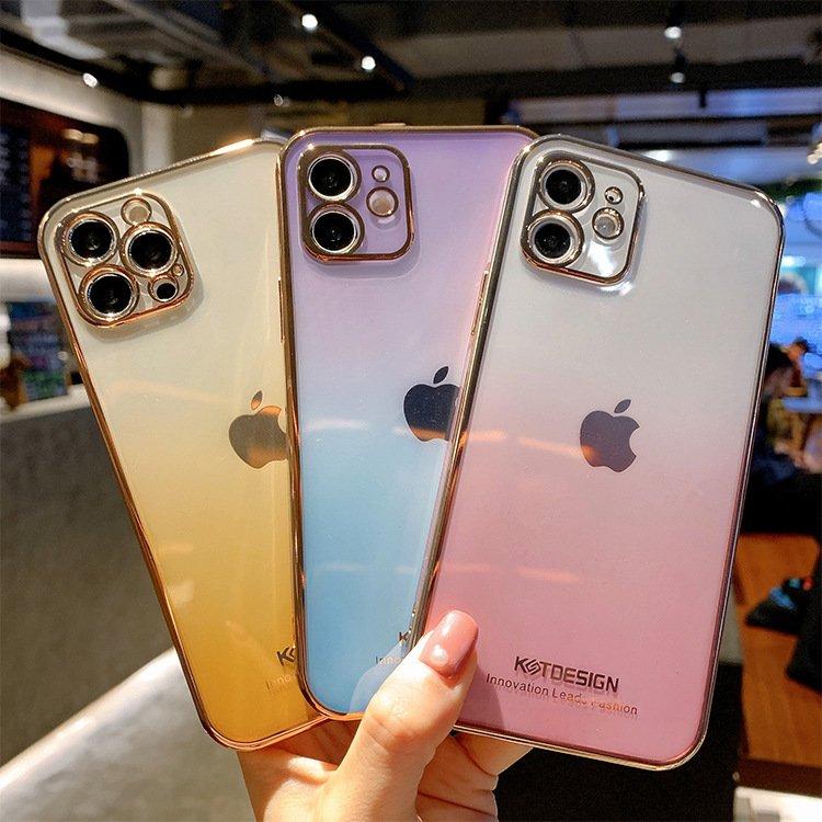 エレガントなゴールドフレーム 側面までグラデーション iPhone12 ギフト ケース iPhone11 iPhoneSE iPhone12mini iPhone12ProMax アイフォン SE XS レインボー おしゃれ カメラ保護 薄い グラデーション かわいい 韓国 価格交渉OK送料無料 透明 クリア XR