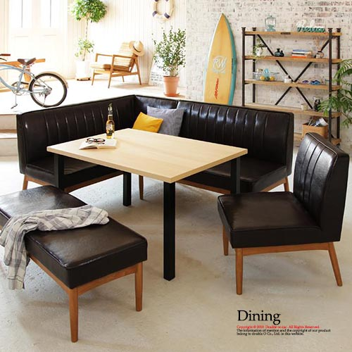 Stylish Dining 5 Point Set West Coast Taste Modern Design Living Room American Style Tables Chairs Bench E