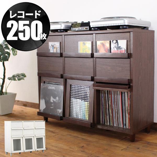 レコードラック レコード収納 サイドボード リビング収納 北欧 おしゃれ 木製 レコード ラック lp LP 収納 ディスプレイラック リビングボード 引き出し アンティーク djブース ターンテーブル 台 dj DJブース 白 ホワイト