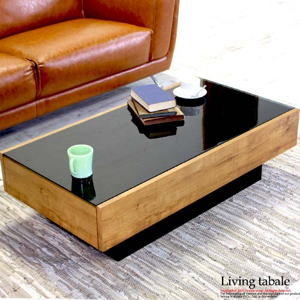 ローテーブル ガラステーブル アンティーク 引き出し テーブル ブラック 低め 木製 収納 センターテーブル ビンテージ おしゃれ リビングテーブル ソファ用テーブル 完成品