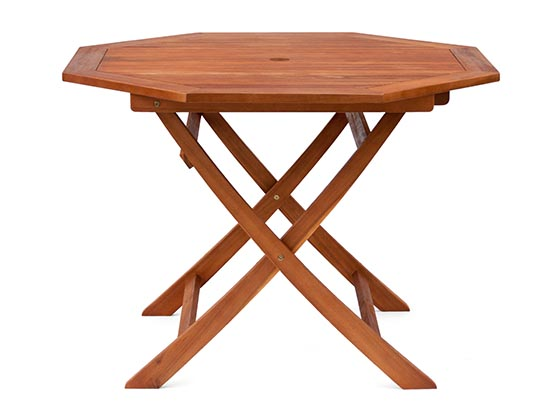 ガーデンテーブル 折りたたみ 木製 ガーデン テーブル 完成品 屋外用 折り畳み 八角 大型 天然木 幅110cm アウトドア キャンプ 屋外 ウッドデッキ用 バーベキュー テーブルセット用 ガーデンテーブルセット用