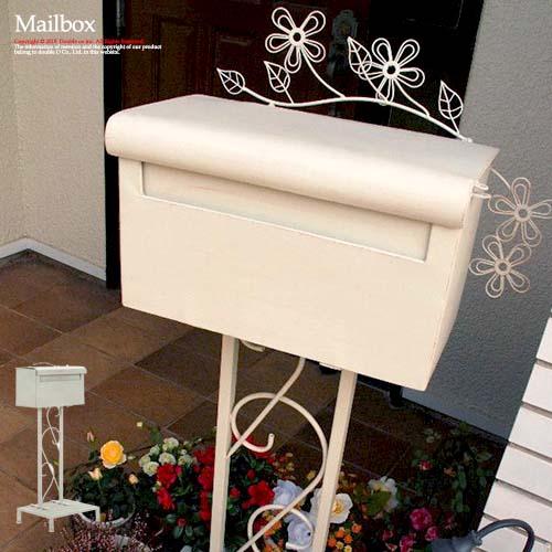 ポスト 郵便ポスト 郵便 郵便受け スタンド メールボックス 置型 アンティーク ガーデン家具 玄関 置き型 エントランス 白 ホワイト 鍵穴