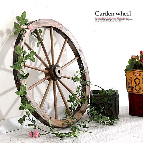 ガーデンウィール 木製 ガーデン雑貨 おしゃれ 45cm 白 ブラウン アンティーク 車輪 木製車輪 ディスプレイ ガーデン 玄関 ガーデニング 雑貨 ホワイト
