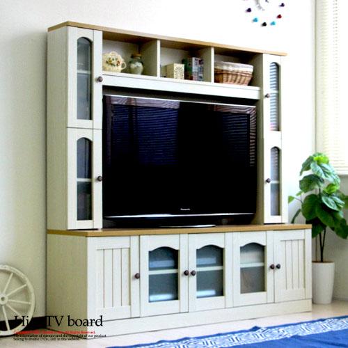 テレビ台 ハイタイプ 白 おしゃれ カントリー テレビボード 壁面 一体型 壁面収納 リビング 収納 収納棚 ラック tv台 幅150cm tvボード リビングボード リビング収納 50インチ サイドラック 一体式