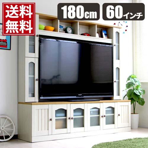 テレビ台 テレビボード TV台 TVボード ハイタイプ カントリー 壁面 壁面収納 ゲート型 収納 60インチ 液晶TV対応 180 180cm ホワイト 白 おしゃれ 家具 インテリア モダン
