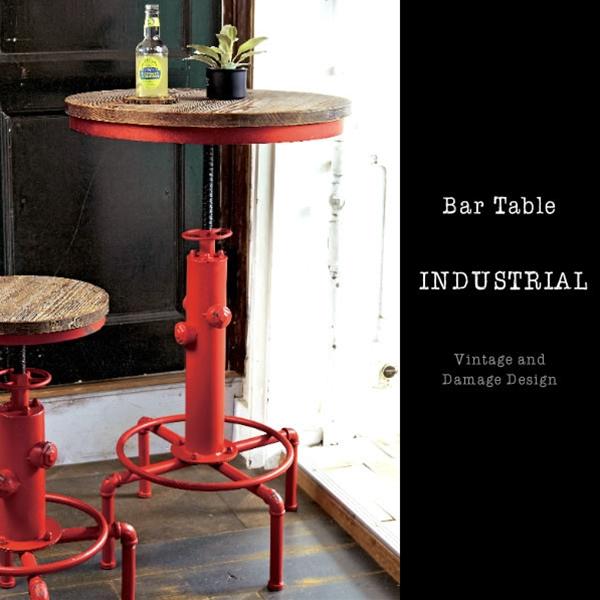 カウンターテーブル 丸 高さ80cm 高さ100cm バーテーブル 昇降 ラウンジテーブル 昇降テーブル 昇降式テーブル テーブル 男前 おしゃれ ヴィンテージ インダストリアル 円形 幅60cm ビンテージ ハイテーブル 業務用 飲食店 台 レッド 赤