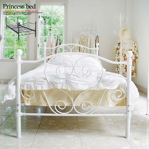 Bed iron bed single Matt steel with cute Princess white antique white metal  pipe bed