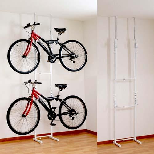 自転車 ラック 収納 室内 スタンド 自転車ラック ディスプレイ つっぱり 棚 吊り下げ 盗難防止 ロードバイク 自転車スタンド マウンテンバイク おしゃれ 飾る クロスバイク ツッパリ