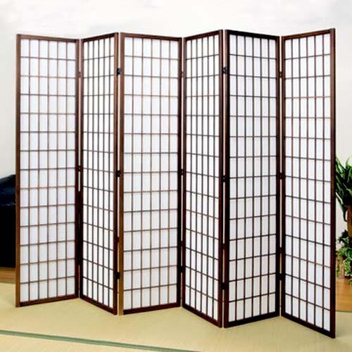 衝立 和風 障子 屏風 6連 パーテーション スクリーン 木製 目隠し ついたて ハイタイプ 幅240cm 和室 木製 高さ180cm 間仕切り おしゃれ 折りたたみ 6曲 天然木 折り畳み