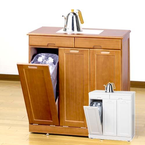 ゴミ箱 木製 分別 キッチン ダストボックス 45l ごみ箱 フタ付き 省スペース 白 おしゃれ 30l ブラウン ペール付き 蓋付き 3分別 完成品 コンパクト ロータイプ