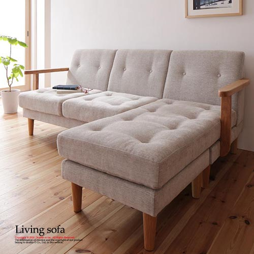 Vintage Sofa Three Seat Couch Corner L Shaped Living Antique Wood Elbow Fabric Scandinavian Furniture