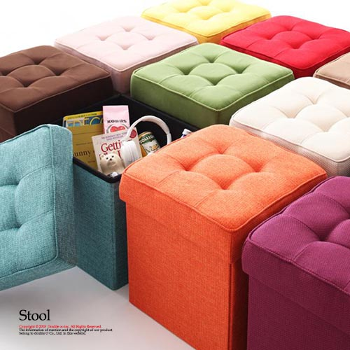 Stool storage stool Ottoman 1 p storage box fabric 20 colors for the dresser trunk Chair : stool storage singapore - islam-shia.org
