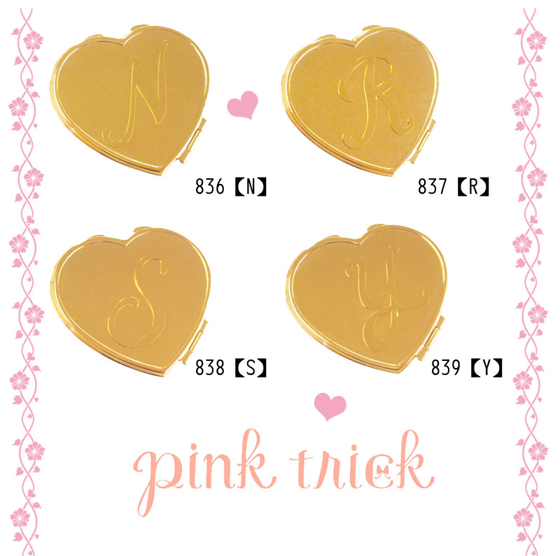 pleasing pink trick [Pink trick shop women's initial mirror initial heart mirror gifts! girl Ko's initial item ★ I love [immediate delivery, [method]