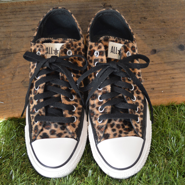 New All Star Seasonal W Chaussures Blue Leopard Print Low Top Canvas Shoes Converse High
