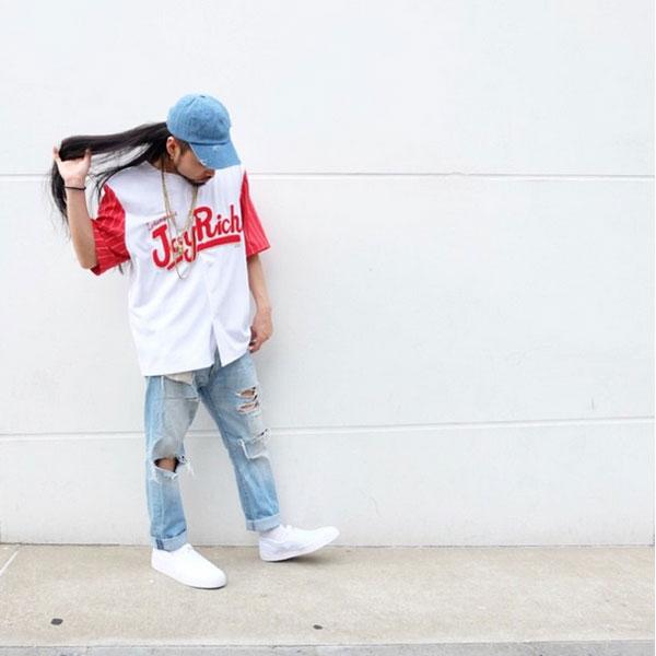 乔伊里奇(JOYRICH)邮购Rich Bball Shirts女士标识顶端短袖棒球衬衫条纹体育混合物(1520100601)