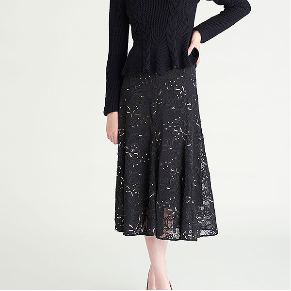 セルフォード CELFORD 通販 12月中旬予約 チュール刺繍スカート レディース スカート チュール 刺繍 フレアスカート フレア ヘムライン スパンコール ひざ丈 ミディアム オフィスカジュアル 上品 cwfs185048