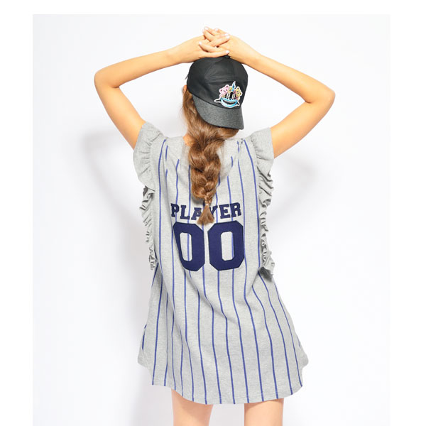 (little sunny bite)作为ritorusanibaitosupoti的设计是可爱的♪Baseball flill dress连衣裙无袖女士条纹邮购