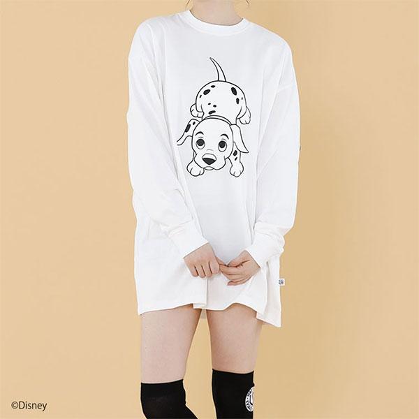 リトルサニーバイト little sunny bite 通販 Disney 101 Dalmatians print big long tee レディース Tシャツ ロンT トップス オーバーサイズ ビッグサイズ 長袖 クルーネック プリント ディズニー ダルメシアン コラボ lsb-ltop-158j